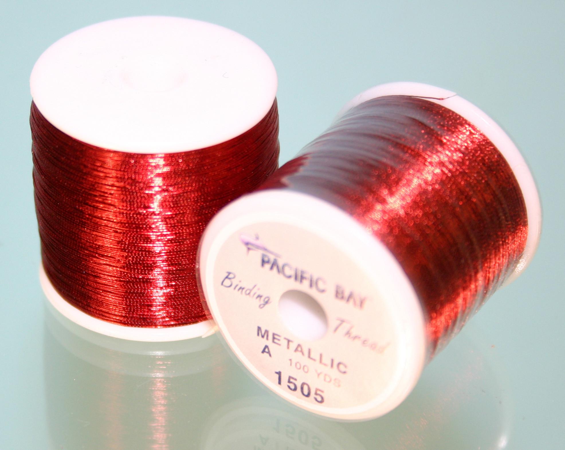 PAC BAY ROD WINDING METALLIC THREAD RED SIZE A-1505 100YDS SPOOL