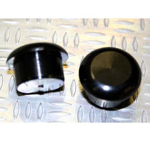 Tapón de apoyo de aluminio NEGRO 15mm diámetro de tallo