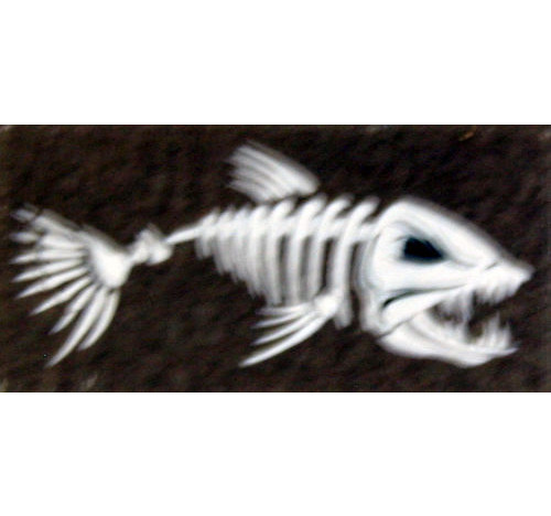 Fishbone decal (white/black on clear 12 mm x 27 mm )