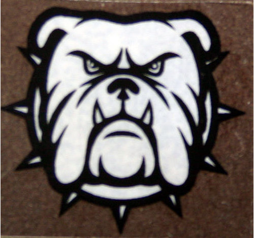 British Bull dog (black & White on clear 22 x 22 mm)