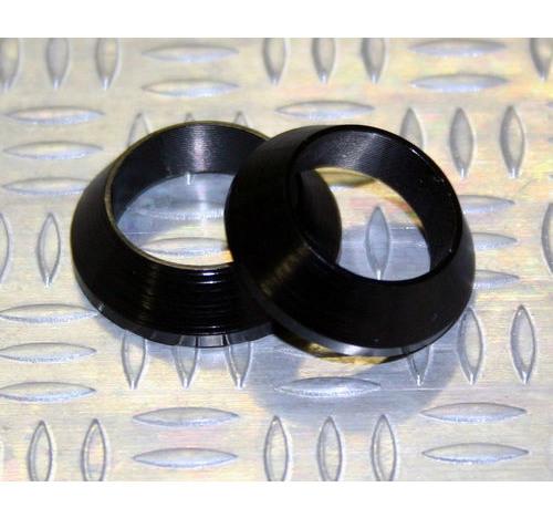 Tope de enrollado cónico de aluminio NEGRO DI=15, DE=21, G=5,5