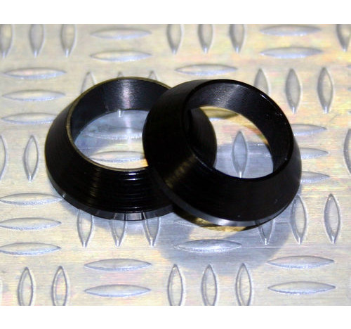 Tope de enrollado cónico de aluminio NEGRO DI=7,0, DE=13, G=4