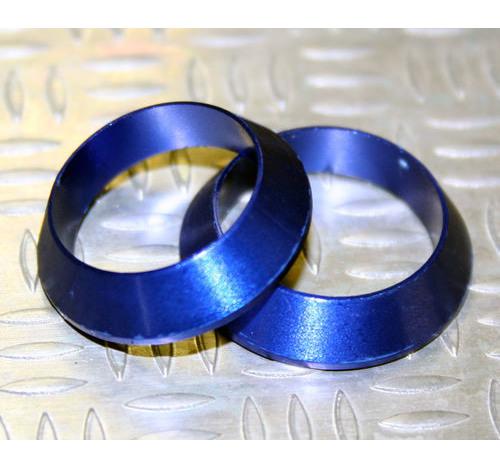 Tope de enrollado cónico de aluminio Azul DI=18, DE=24, G=5,5