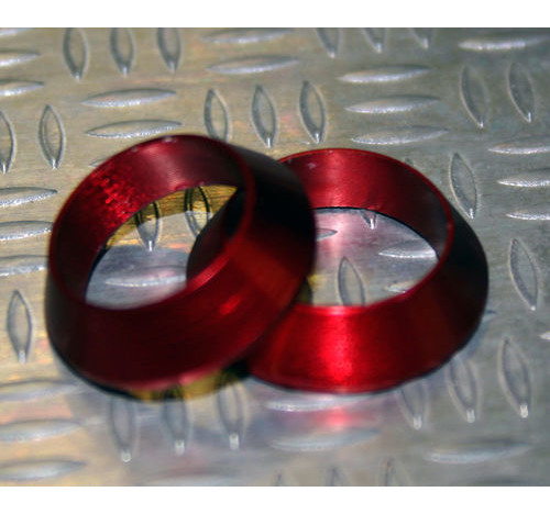Tope de enrollado cónico de aluminio ROJO DI=14,5, DE=20, G=5,5